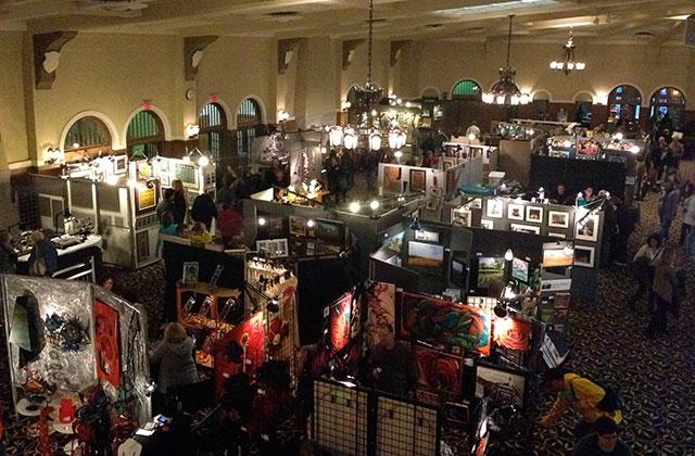 Overhead view of art fair in the student union