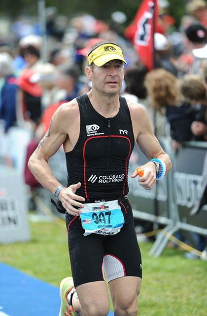 Michael Stone running a triathalon