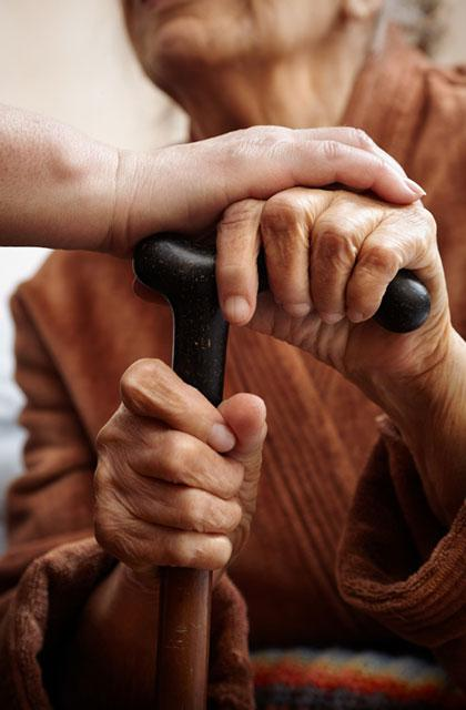 adult hand touches elderly hands on a cane