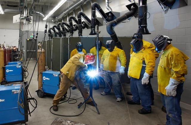 Students welding at one of Kirkwood Community College's regional centers