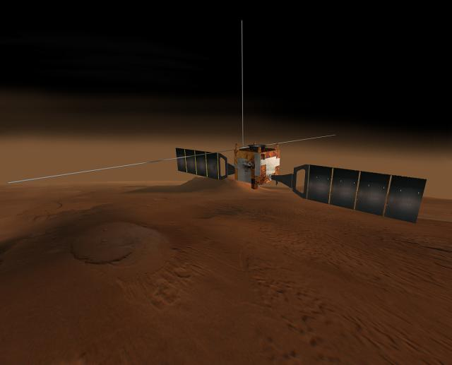 Rendering of Mars Express and its 130-foot antennae extend above Mars