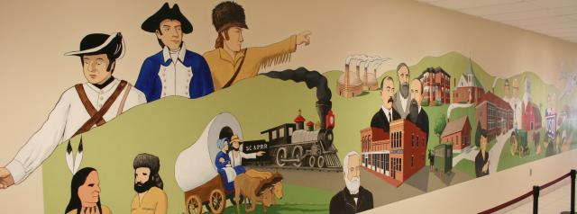 Mural showing the history of Sergeant Bluff at the Sergeant Bluff-Luton Elementary School