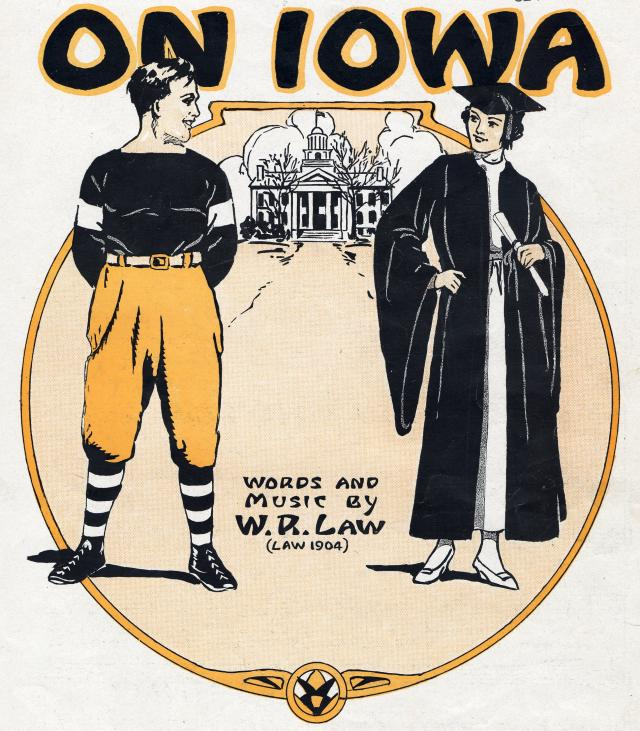 "Sheet music cover for ""On, Iowa,"" 1919"