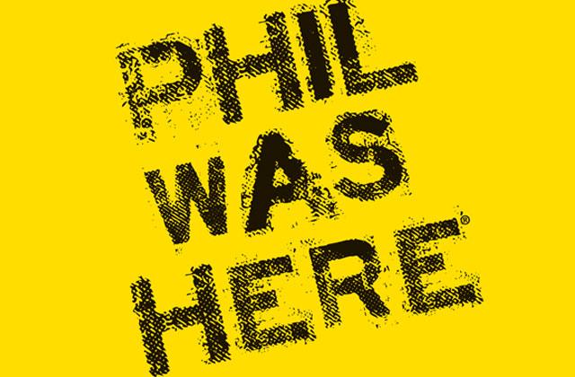 """Phil Was Here"" graphic type treatment"