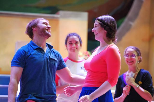 "University of Iowa School of Music students Jordan Pullman and Tessa Hoffman rehearse their roles for their performance of Gilbert & Sullivan's ""The Gondoliers"" on Tuesday, June 30th. The comedic opera is being directed by Nicholas Wuehrmann and will perf"