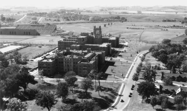 Aerial view of UI Hospitals and Clinics in 1930