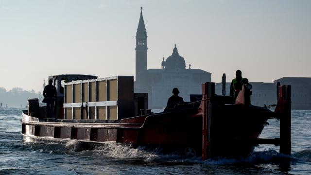 Boat enters Grand Canal in Venice, Italy