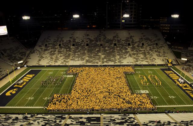 Class of 2020 forms a block I at Kinnick.