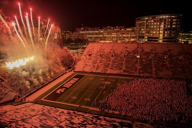 Fireworks go off at Kinnick during On Iowa festivities.