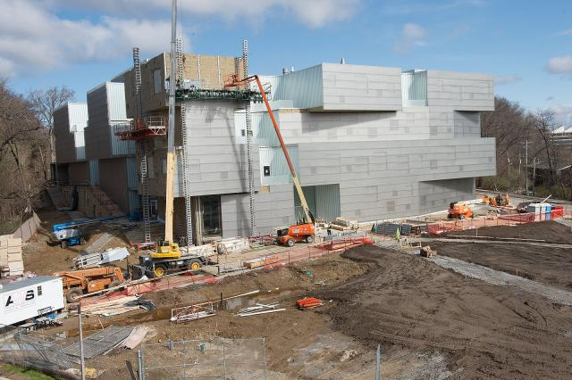 east side exterior of Visual Arts Building construction