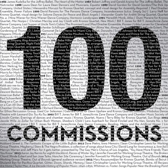 100 commissions illustration with names of artists and titles of artwork