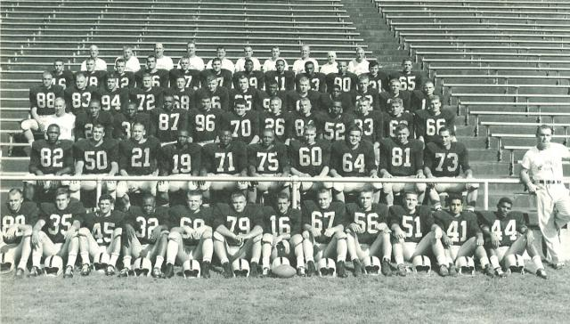 Black-and-white group photo of 1960 Hawkeye football team