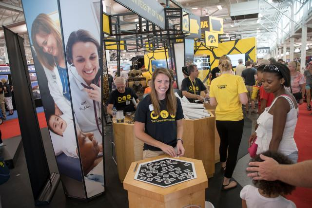 University of Iowa booth at the Iowa State Fair