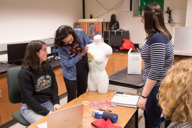 four university of iowa biomedical engineering students work through the process of creating a bra for lymphedema patients