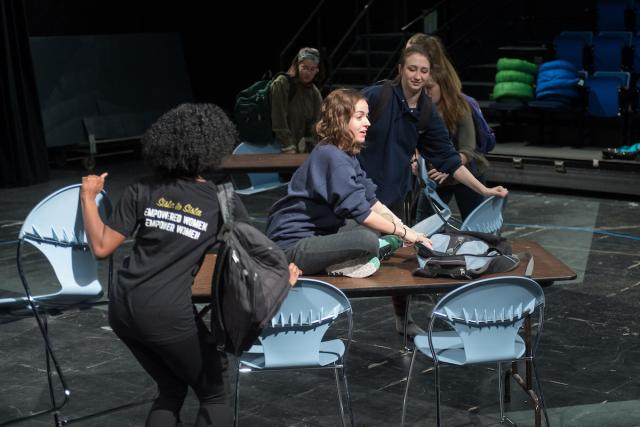 "Molly Winstead, center, is both acting in and serving as the dramaturg for ""Lingering"""