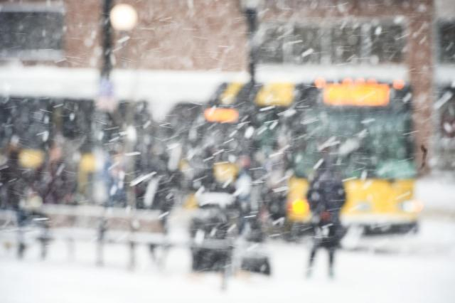 cambus seen through snow in snowy scene