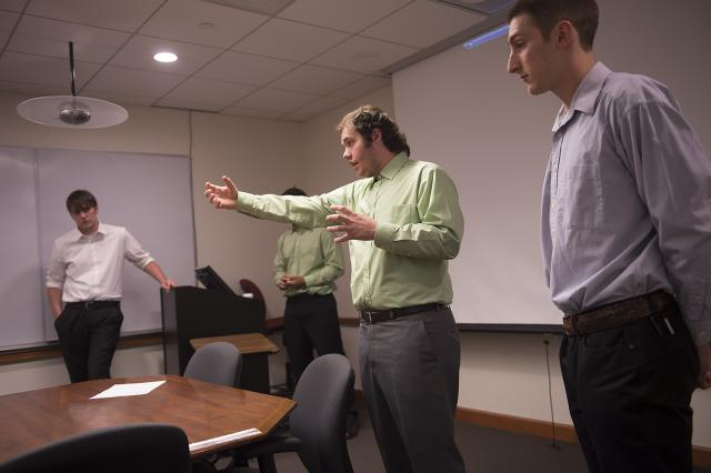 engineering students giving presentation