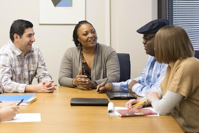 Sherry Watt meets with a group