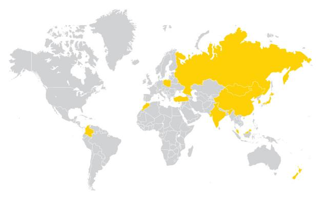 World map showing countries where Fulbright scholars will travel