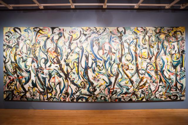jackson pollock's mural hanging in sioux city