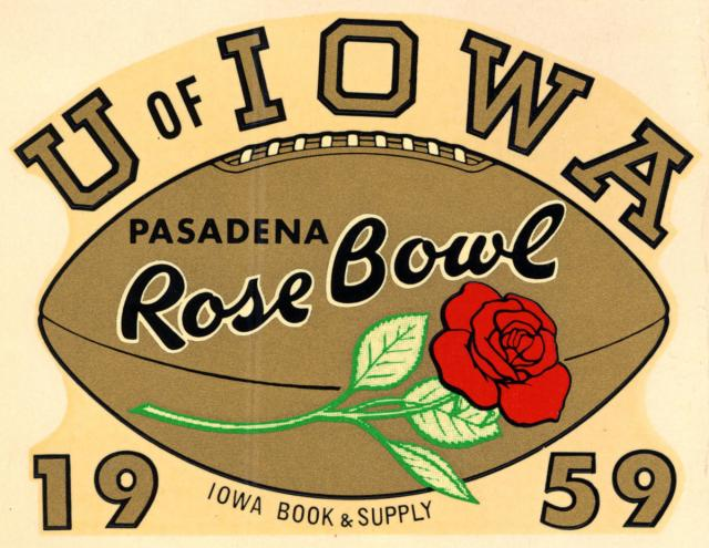 Rose Bowl 1959 decal sold by Iowa Book and Supply