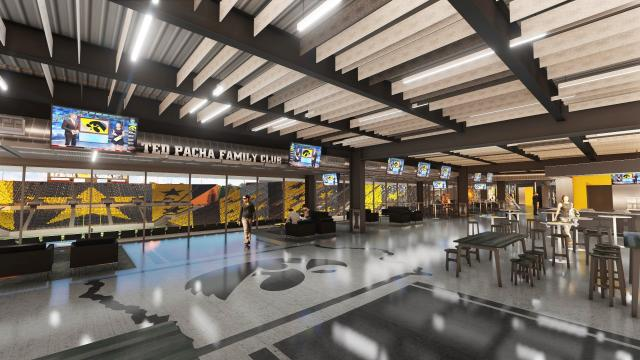 The Ted Pacha Family Club will be part of the north end zone renovations at Kinnick Stadium. The club will be named in honor of Ted Pacha, who made a $5 million gift toward the fundraising campaign for the project.