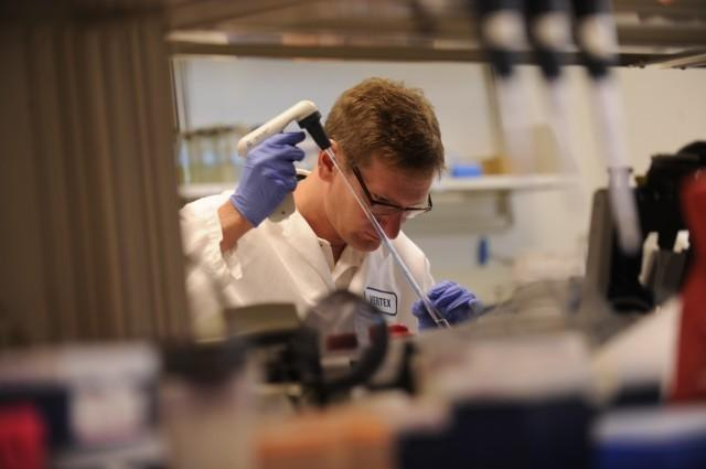 Vertex Pharmaceuticals conducts antiviral and antibacterial research at the BioVentures Center in the UI Research Park.