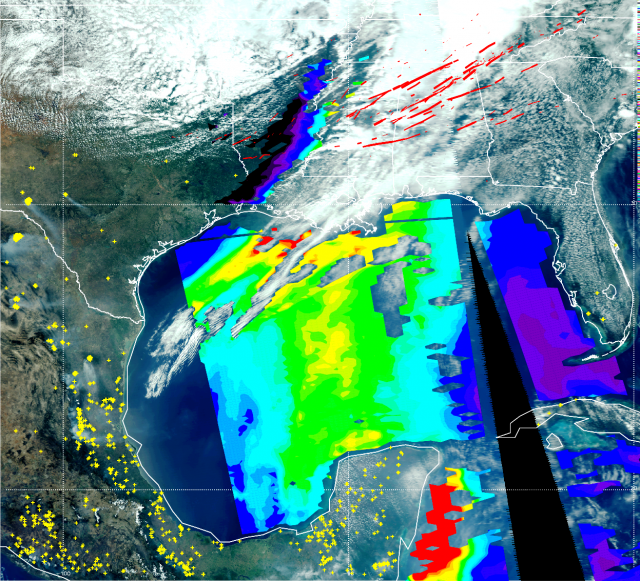 The satellite image for April 27, 2011 shows the southeastern United States, Central America and the Gulf of Mexico -- along with tornado tracks (red solid lines, with the thickest indicating a magnitude 5 tornado, descending to magnitude 1 for the thines