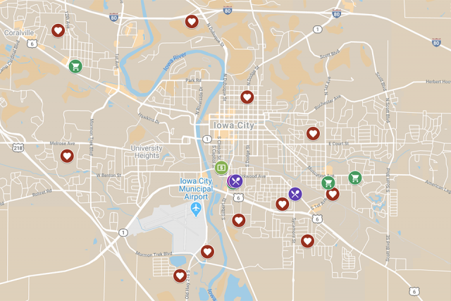 a map showing food resources in the iowa city area