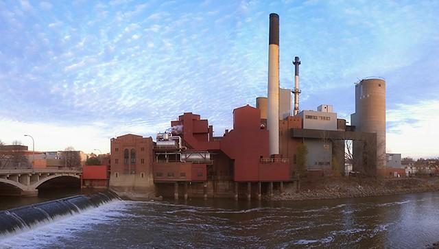 exterior of the old power plant and river