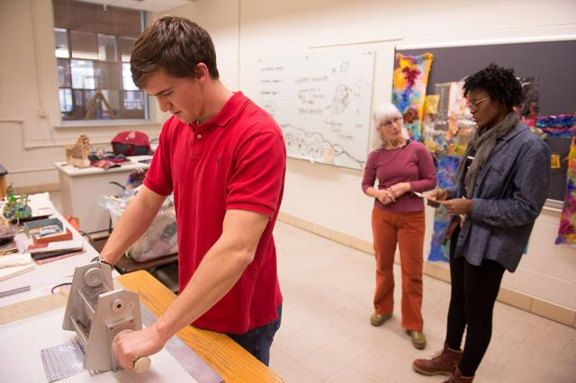 Engineering students work with printmaker and adjust professor Deanne Wortman