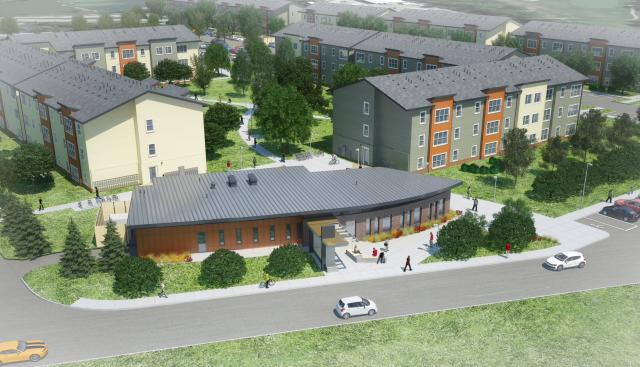 Rendering of planned apartment complex courtesy of Balfour Beatty.