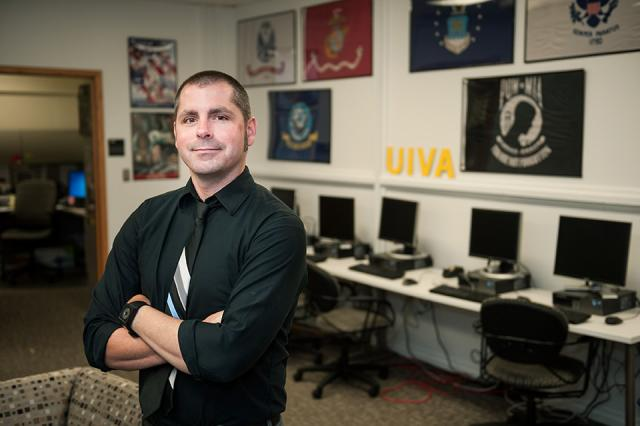 Allen Roberts in the newly-remodeled Military and Student Veteran Services office at the UI