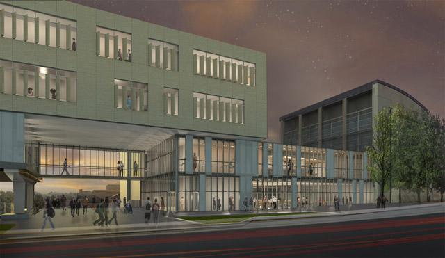 exterior night rendering of the proposed addition to the Seamans Center