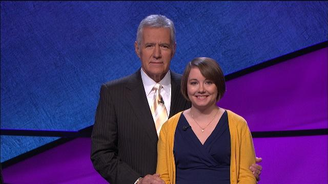 Sarah McNitt poses with Alex Trebek during her taping of Jeopardy!