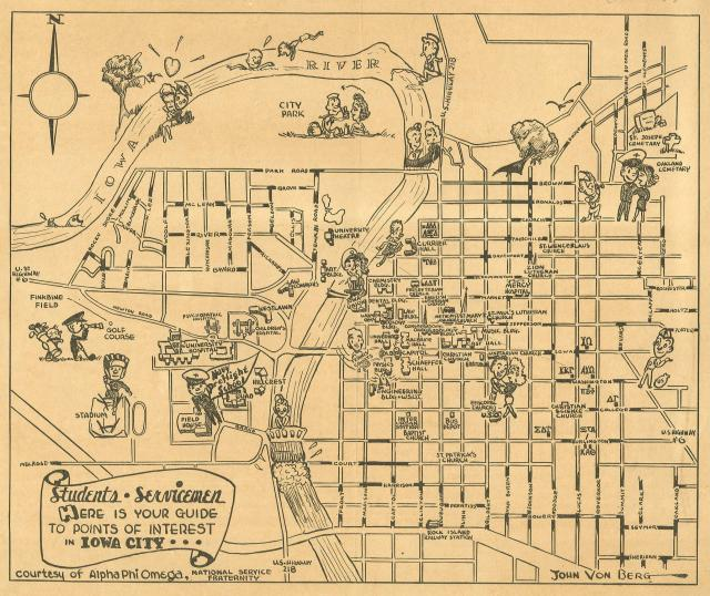 1943 wartime map of UI campus