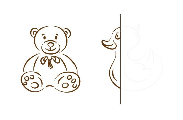 teddy bear and toy duck illustrations, duck is partially erased