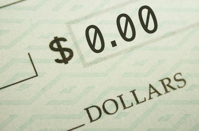 detail of a check made out for 0.00
