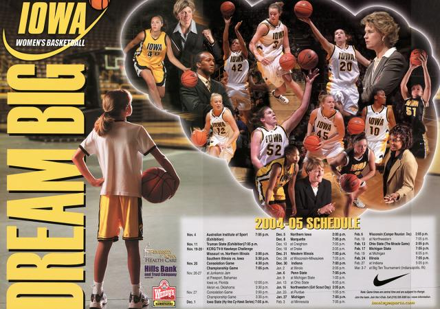 2004-05 Iowa women's basketball poster with young Ally Disterhoft.