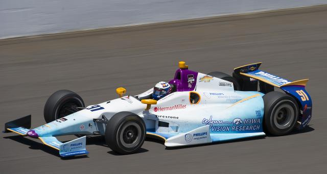 Wynn Institute car on the track at the Indy 500