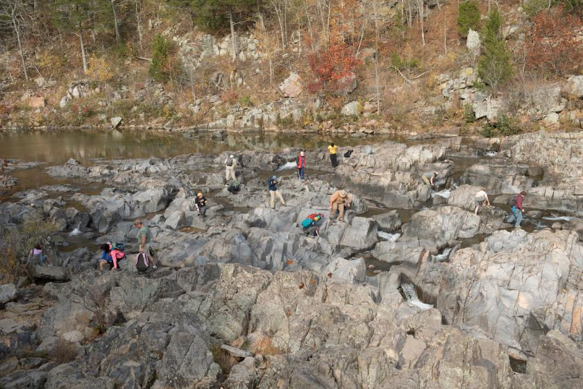 Geology students scatter amid the jagged, labyrinthine formation at Johnson's Shut-Ins State Park.