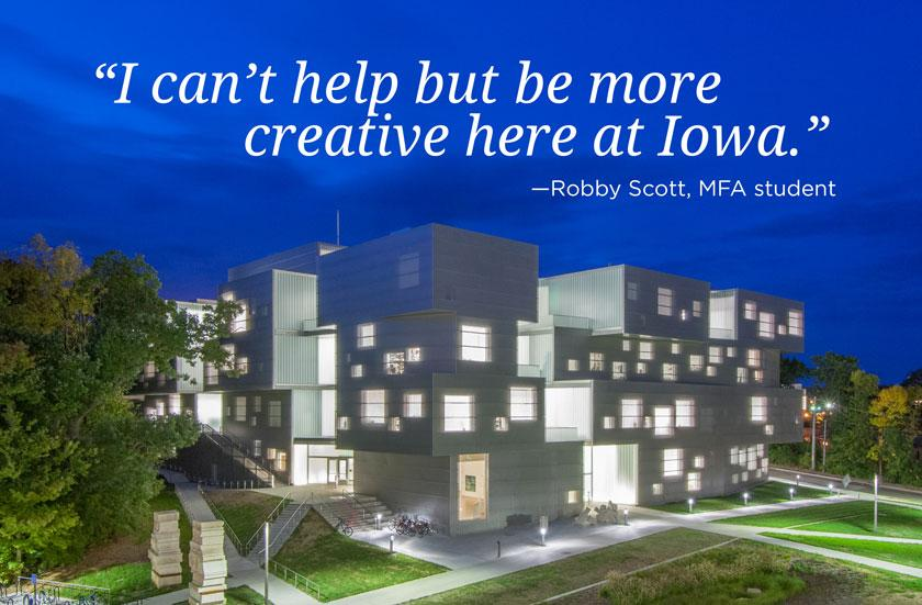 visual arts building with testimonial quote