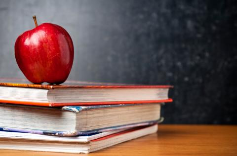 an apple on a stack of books in front of blackboard