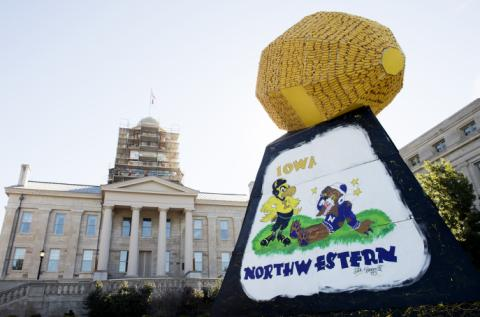 The 2016 corn monument includes a mural based on the first picture of Herky drawn by a UI alumnus in 1948. Coincidentally, the drawing also featured Northwestern, who the Hawkeyes will play in their Homecoming game Oct. 1.