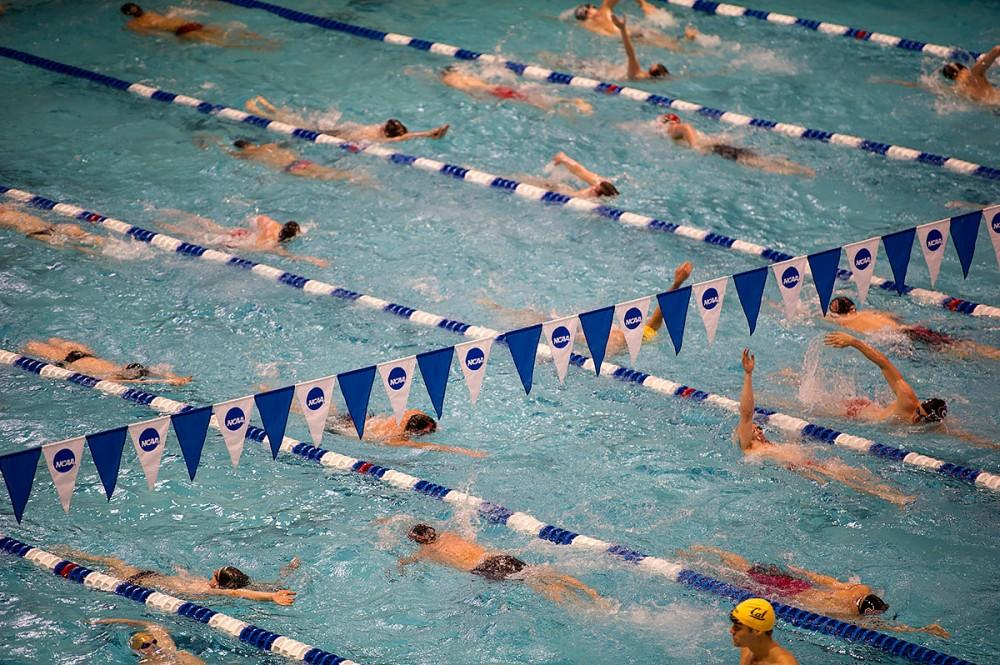 The warm-up pool.