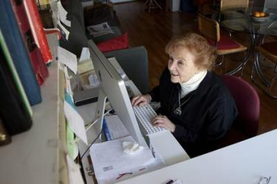 Shirley Joel edits video in her Manhattan apartment. The active 84-year-old learned to use Final Cut Pro editing software during her eighties. (Elizabeth Stuart)