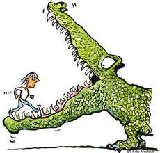 Illustration of a person running into a crocodile's mouth