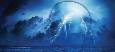 An abstract profile of a person's face over a body of water with lightning striking in the person's head, illustrating seizures in the brain