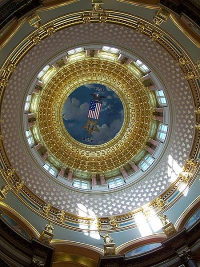 View of the interior of the state capitol rotunda.
