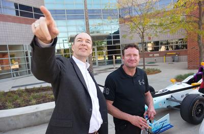 Buddy Lazier and Ed Stone outside of the Wynn Institute